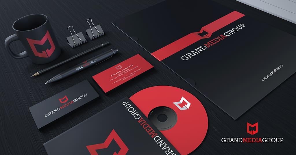 разработка брендбука и фирменного стиля компании Гранд Медия Групп