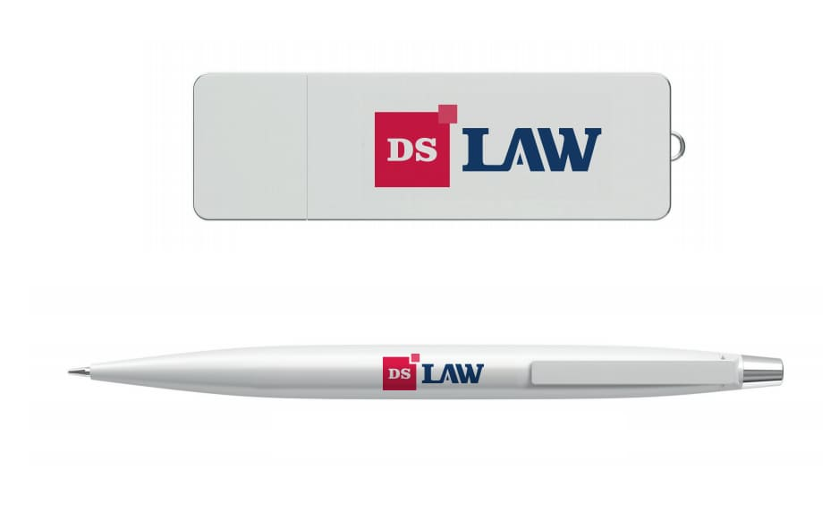 Ребрендинг логотипа DS Law. Гайдлайн. Пример сувенирной продукции