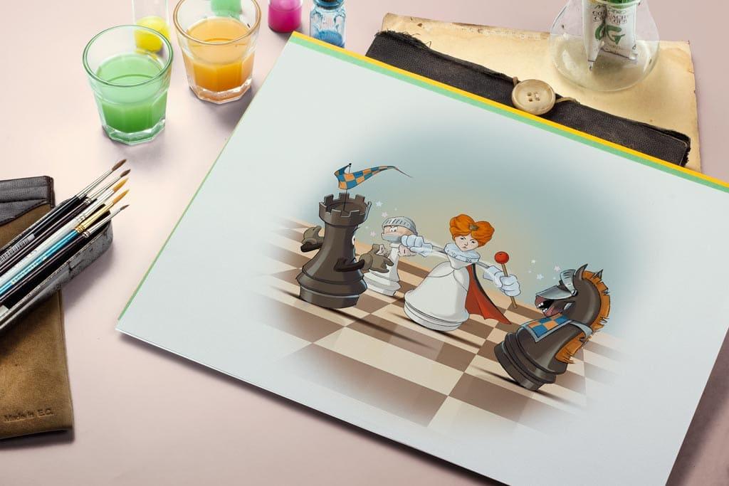 Иллюстрации к книгам по шахматам. Иллюстрация двойной удар