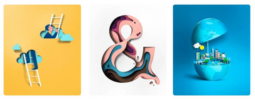 Тренды графического дизайна 2018-ого года paper cut