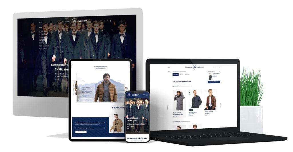 Разработка креативных сайтов. Сайт производителя одежды. Заказать дизайн сайта