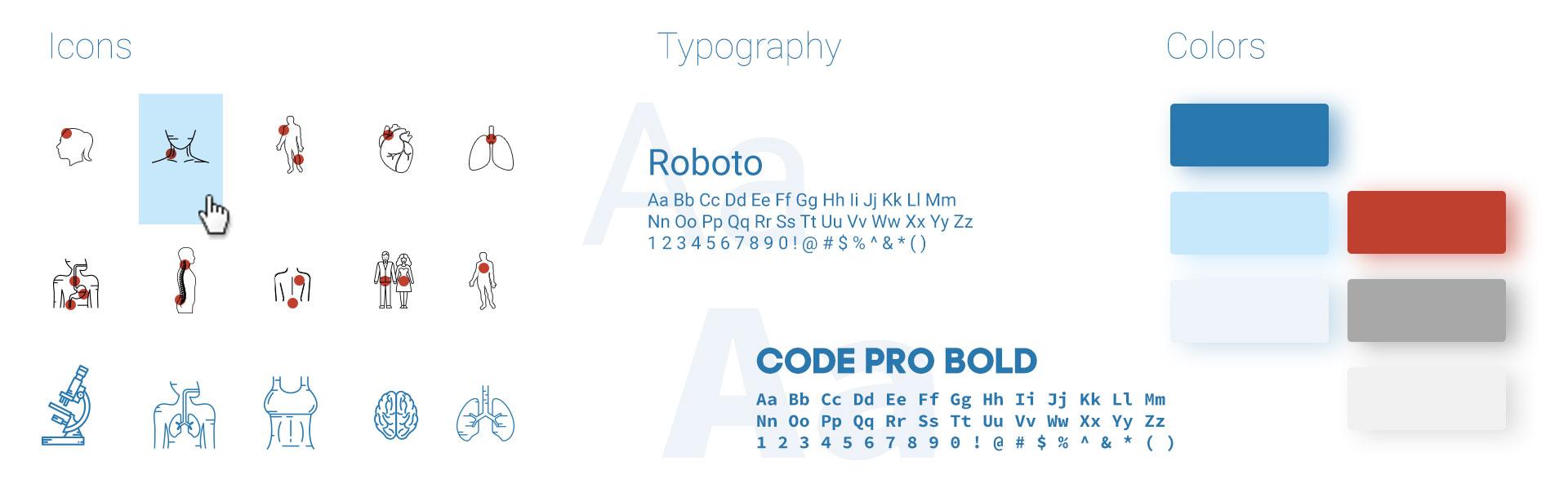 Цвет шрифт и иконки в разработке дизайна сайта медицинской клиники