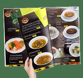 Дизайн меню ресторана Усадьба Банная