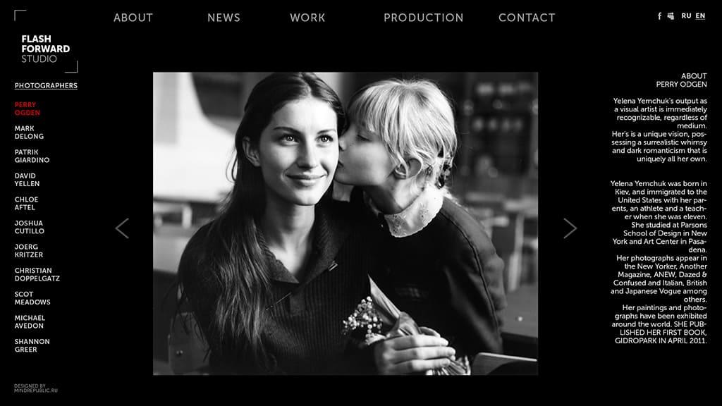 создание дизайна сайта для фото-агентства внутренняя страница о фотографе