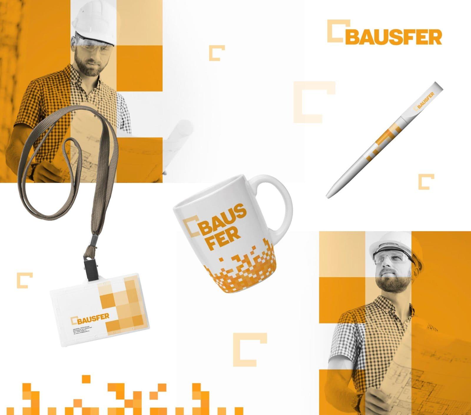 Пример работы в портфолио фирменный стиль компании Bausfer