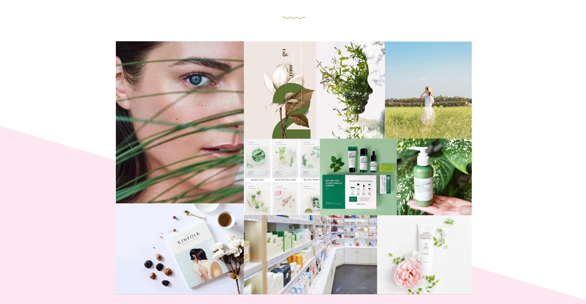 Создание бренда магазина косметики брендинг под ключ мудборд проекта