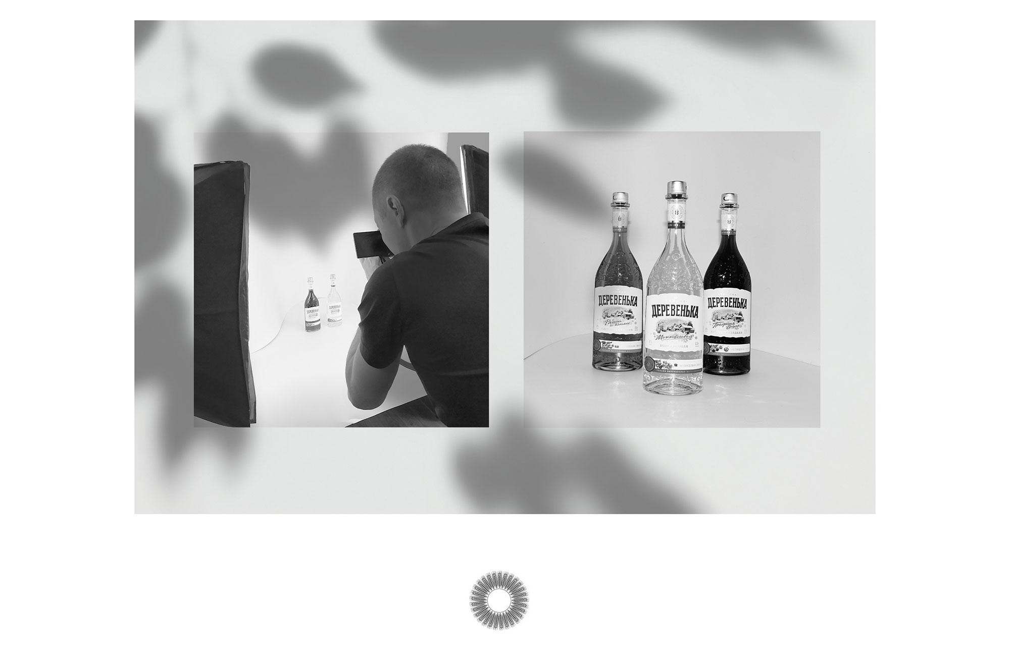 Фото-сессия водки Деревенька для сайта лендинга