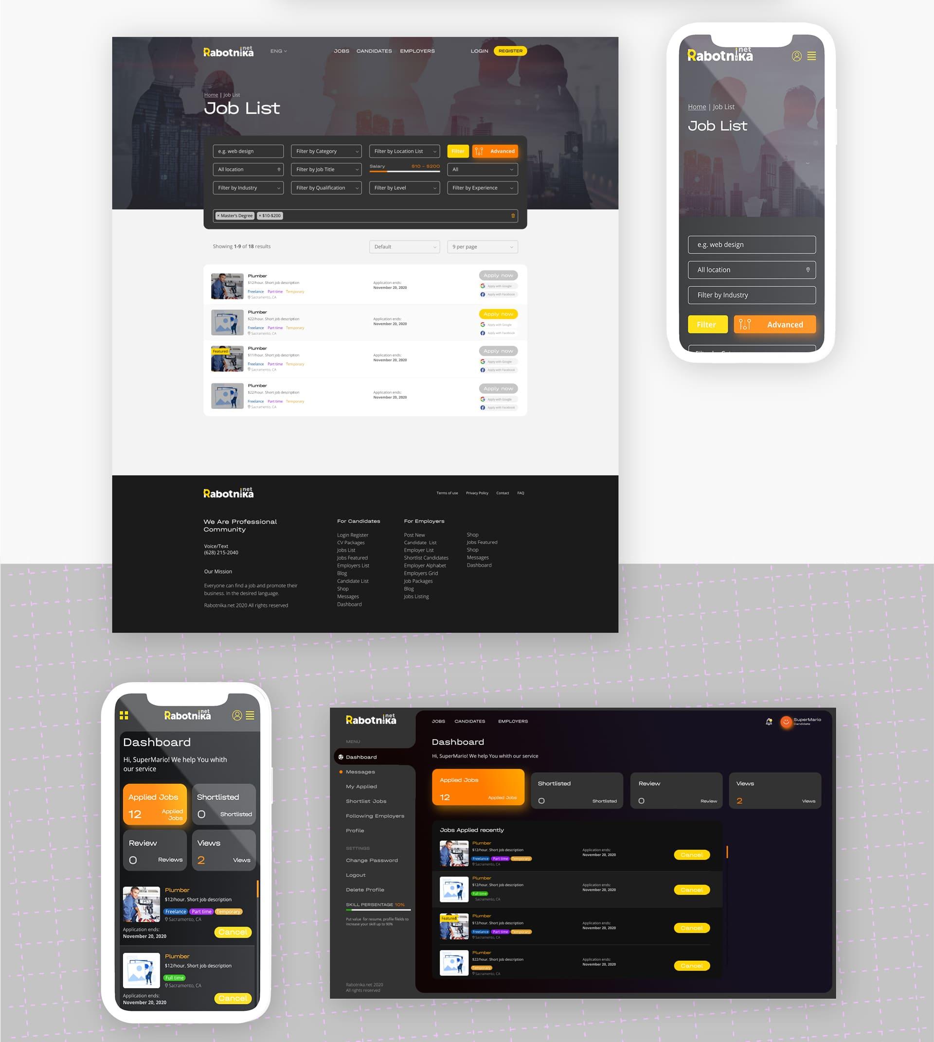 Бекенд сайта - дизайн интернет портала по поиску работы